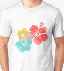 Hawaii Hibiscus, Orange, Yellow and Blue  Unisex T-Shirt