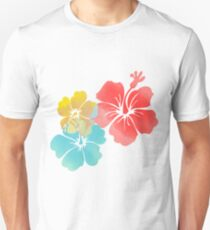Hawaii Hibiscus, Orange, Yellow and Blue  T-Shirt