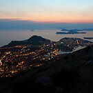 Evening View of Dubrovnik and the Dalmatian coast by kirilart
