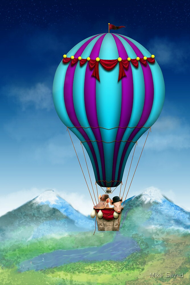 Flying Pig - Balloon - Up up and Away by Michael Savad
