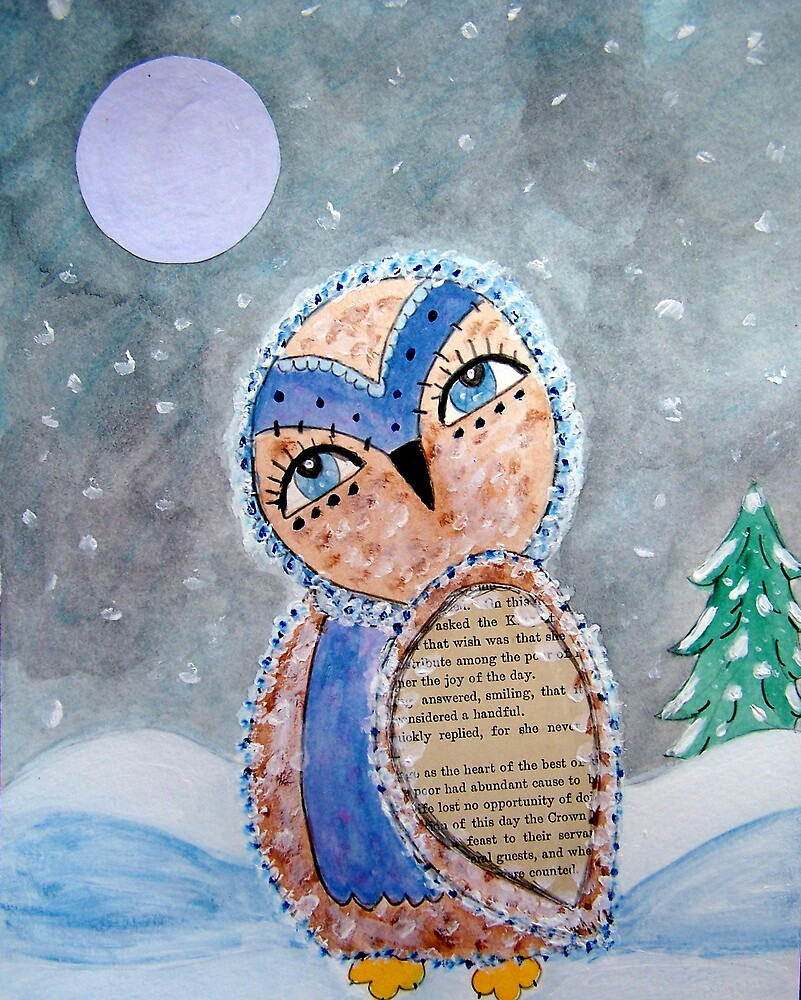 Whimsical Owl Under A Full Moon by whimsyways