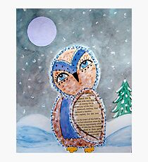 Whimsical Owl Under A Full Moon Photographic Print