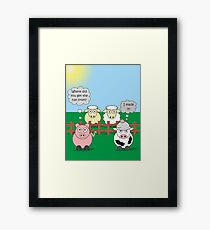 Rudy the Pig & Moody the Cow - Woolly Hat Humour Framed Print
