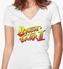 Bacon Eater II  Women's Fitted V-Neck T-Shirt