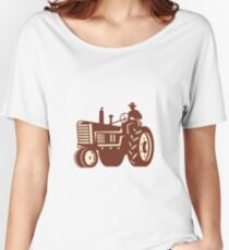 Farmer Driving Vintage Tractor Retro Women's Relaxed Fit T-Shirt