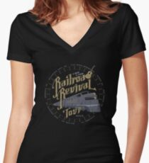 Railroad Revival contest entry - distressed Women's Fitted V-Neck T-Shirt