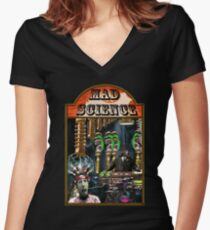 MAD SCIENCE Women's Fitted V-Neck T-Shirt