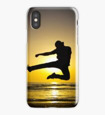 Martial arts silhouette at sunset iPhone Case/Skin