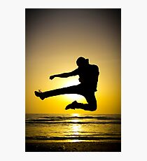 Martial arts silhouette at sunset Photographic Print