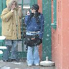 Blizzard, time for a smoke by Larry Hartshorn