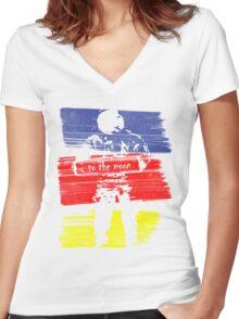astro stripe Women's Fitted V-Neck T-Shirt
