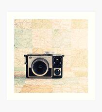 Retro - Vintage Pastel Camera on Beige Pattern Map Background Art Print