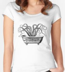 Tentacles in the Tub | Octopus | Black and White Women's Fitted Scoop T-Shirt