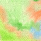 Watercolor Hand Painted Orange Green Blue Abstract Background by Beverly Claire Kaiya