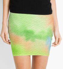 Watercolor Hand Painted Orange Green Blue Abstract Background Mini Skirt