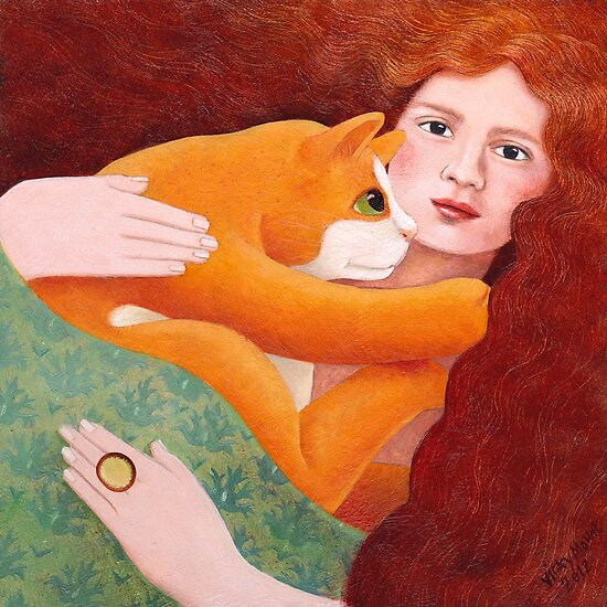 Girl with Ginger Cat by vickymount