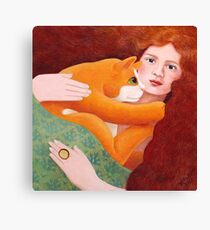 Girl with Ginger Cat Canvas Print