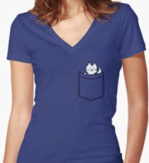 Cat in Your pocket Women's Fitted V-Neck T-Shirt