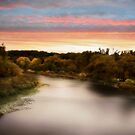 Autumn River and Sunset by Elaine Manley