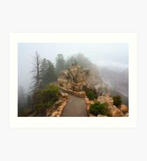 Bright Angel Point in Fog Art Print