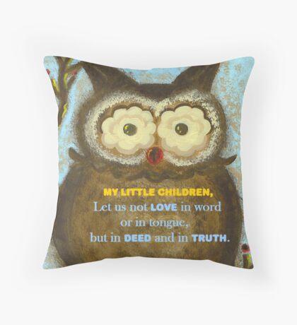 1 John 3:18 with 'Owl Winterberry' Throw Pillow