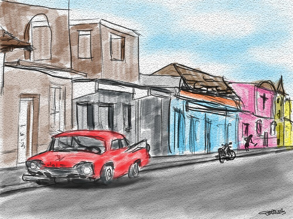 Watercolour style digital sketch and painting of a Cuban Street. by joelwilluk