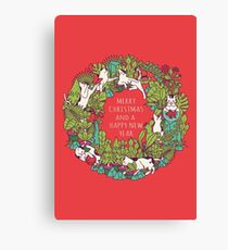 Cat Garden - Christmas Wreath Canvas Print