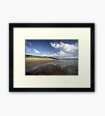 Woolacombe beach reflections Framed Print