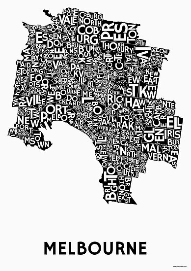 Melbourne poster black on white by citiposters