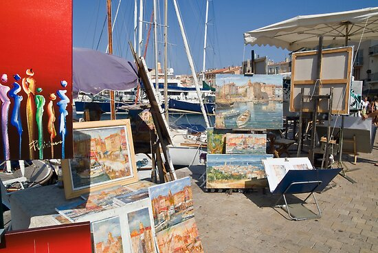Quay artists at St Tropez   by Jim Hellier