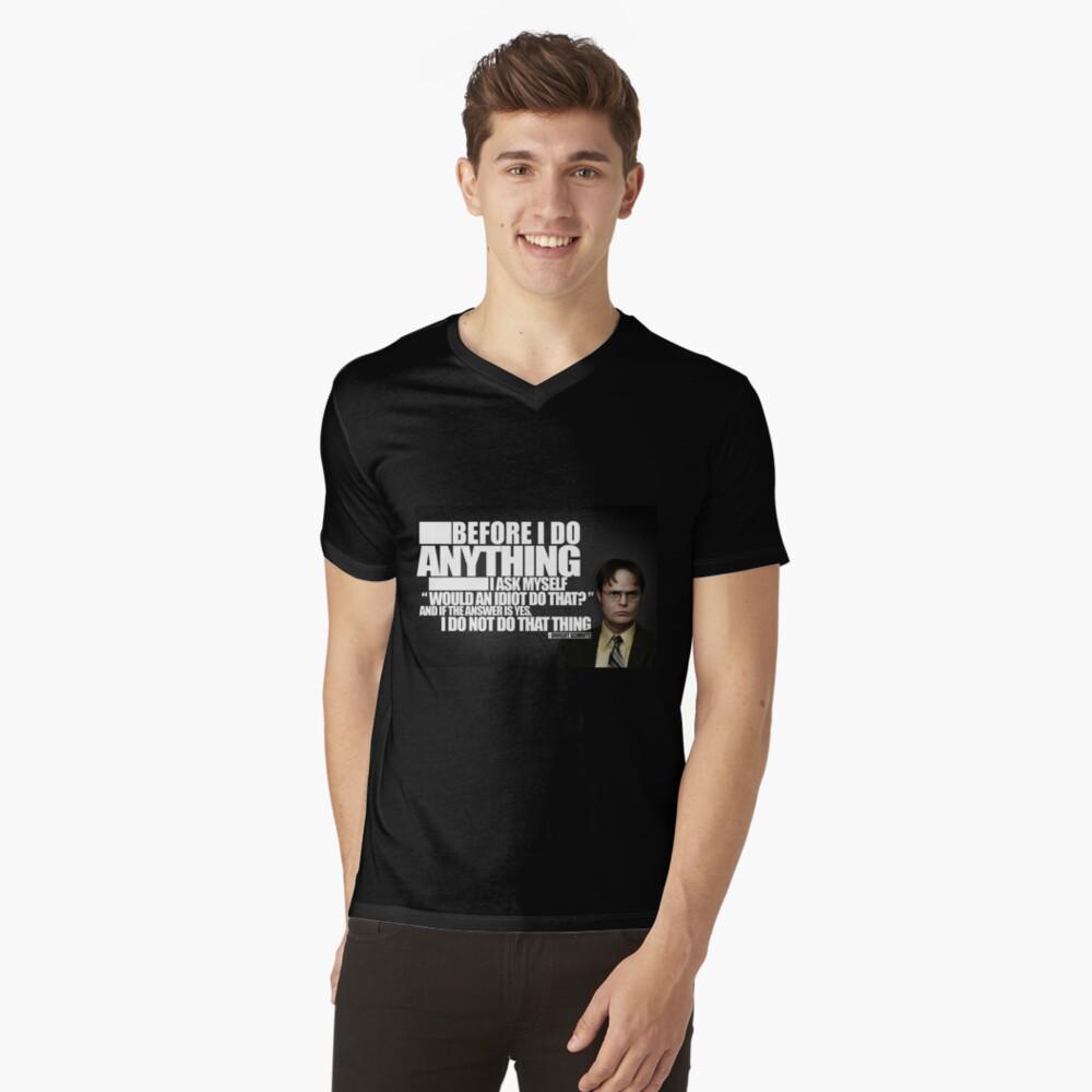 Bevor ich etwas tue T-Shirt mit V-Ausschnitt