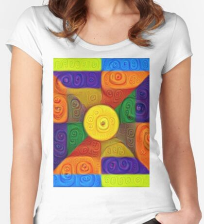 DeepDream Color Squares Visual Areas 5x5K v1447854295 Fitted Scoop T-Shirt