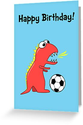 Funny cartoon dinosaur soccer birthday card greeting cards by funny cartoon dinosaur soccer birthday card by boriana giormova m4hsunfo