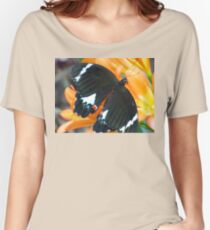 Butterfly on Clivea Flower  Women's Relaxed Fit T-Shirt