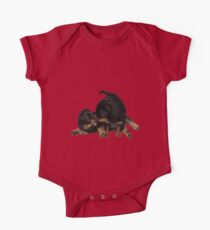 Rottweiler Puppies Playing Vector Isolated Kids Clothes