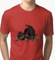Rottweiler Puppies Playing Vector Isolated Tri-blend T-Shirt
