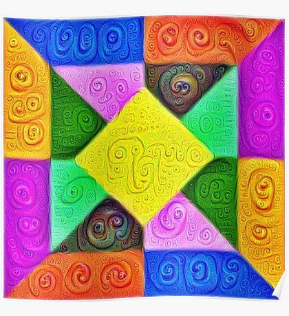 DeepDream Color Squares Visual Areas 5x5K v1447913433 Poster