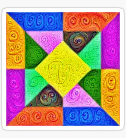 DeepDream Color Squares Visual Areas 5x5K v1447913433 Sticker