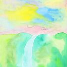 Watercolor Hand-Drawn Colorful Waterfall Painting in Pastel Tones by Beverly Claire Kaiya