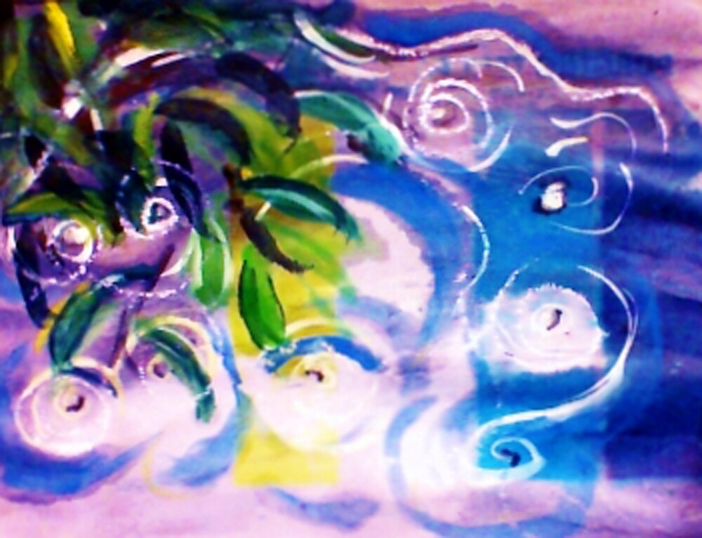 The ripple effect after the rain on the pond, watercolor by Anna  Lewis, blind artist