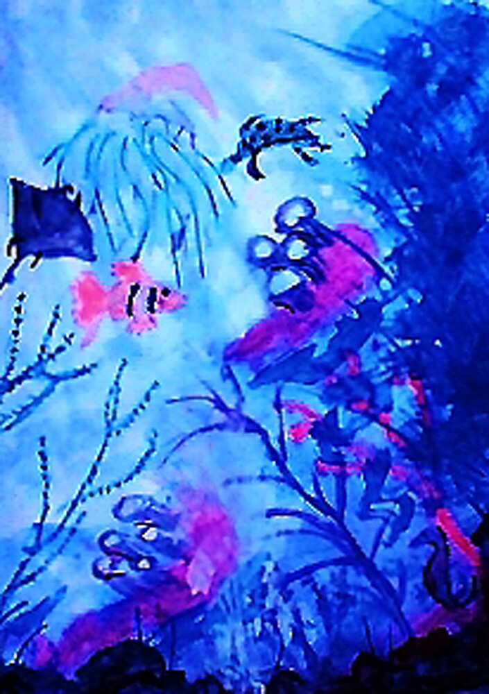 Life under water, watercolor by Anna  Lewis, blind artist