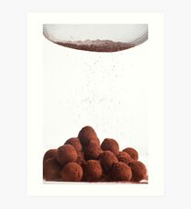 Chocolate truffles and cocoa powder  Art Print
