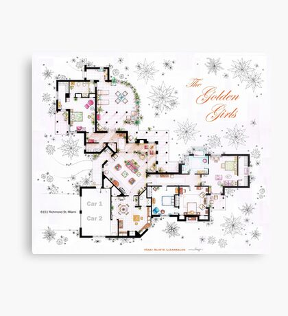 The Golden Girls House floorplan v.1 Metal Print