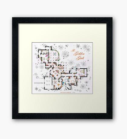 The Golden Girls House floorplan v.2 Framed Print