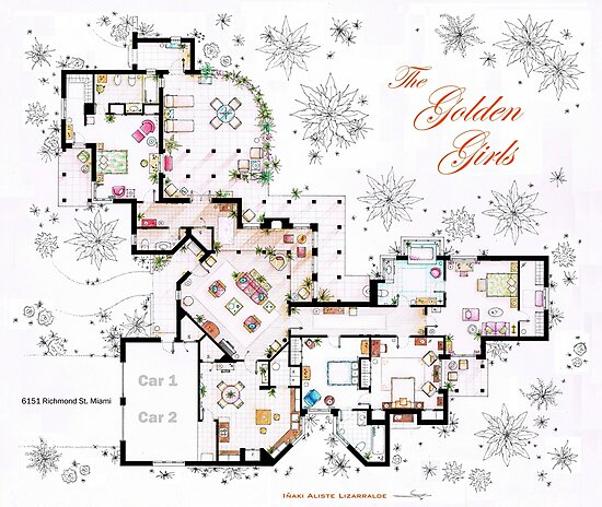 The Golden Girls House floorplan v.2 by Iñaki Aliste Lizarralde