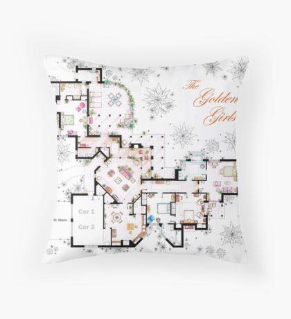 The Golden Girls House floorplan v.2 Throw Pillow