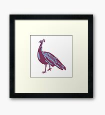 Male Indian Peacock Woodcut Framed Print