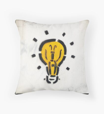 Bright Ideas Stencil Graffiti Throw Pillow