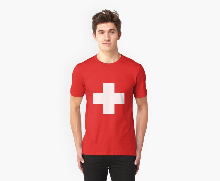 Swiss Flag T-shirt by Scrabbles