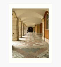 Castle garden passage with arches Art Print